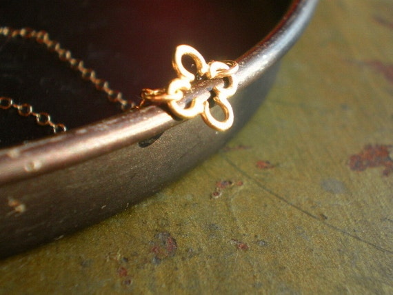 Chancery Dainty Gold-Filled Open Quatrefoil on Gold-Filled Chain Necklace - Chi Mu
