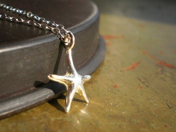 Nassau Dainty .925 Sterling Silver Starfish on Sterling Silver Chain Necklace - Perfect for Beach Weddings