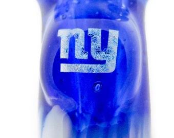 Hand Blown Glass Tobacco New York Giants Dichro Sparkle Football White Blue