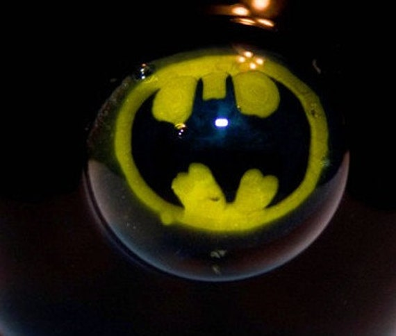 Hand Blown Glass BAT MAN Solid BLACK Tobacco Pipe Pyrex
