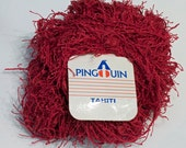 Destash Yarn Pingouin Tahiti Red Dark Pink Eyelash Novelty Yarn 44 grams