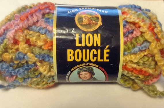 Destash Yarn Lion Boucle in Taffy Multicolored 1 and a half Skeins Lot
