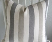ONE new 18 X 18 neutral, white, dark and light gray stripes,  pillow throw pillow decorative pillow cover