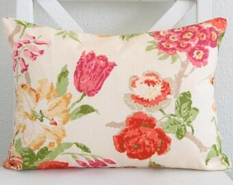 Yellow floral lumbar decorative pillow cover