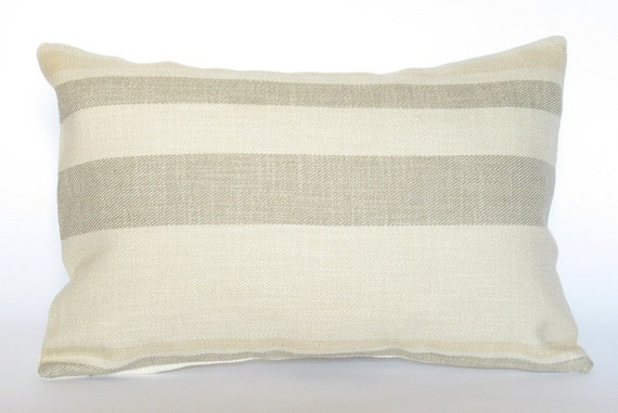 Decorative pillow - lumbar pillow - pillow cover - 12 x 18 - cream gray pale yellow stripes