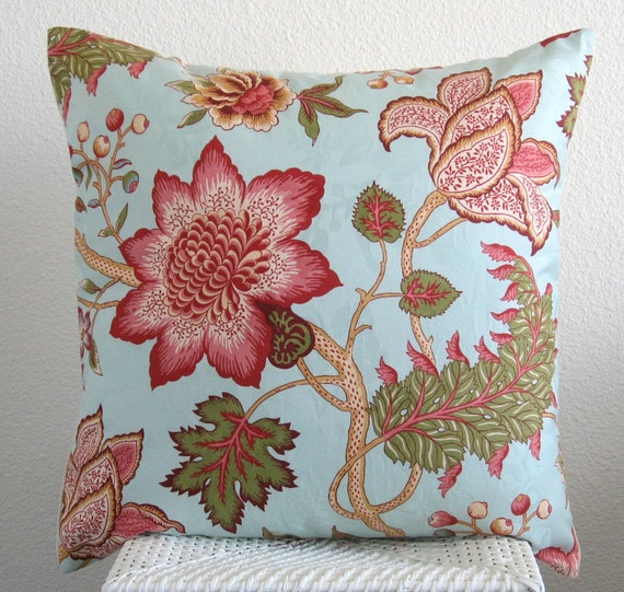 Blue floral decorative pillow cover - Waverly Maldives - Botanical accent pillow cover