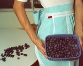 The Alice Vintage-Inspired Blue Gingham Half Apron