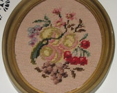 Adorable Needlepoint Oval Floral Picture