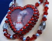 Marie Antoinette heart resin necklace by Whiskey Darling - FREE US SHIPPING
