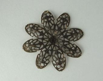 Filigree, Vintaj Natural Brass, Passion Flower Petal Filigree, Large, Soft Bendability, 42mm, One Piece