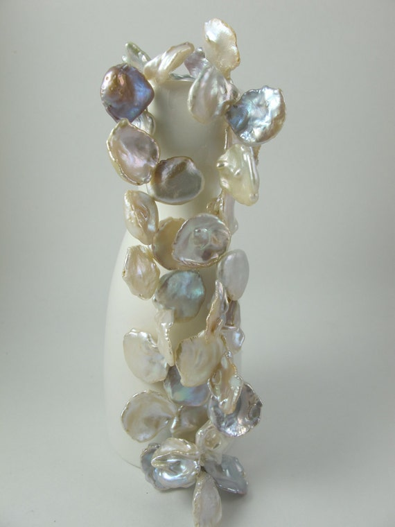 Keishi Pearls, Large Cornflakes, Silvery White with Gold Tones, 17-18 x 19-20mm, Top Drilled, Petal Shaped, Set of 3 Pearls (P029)