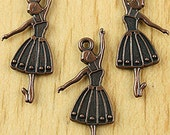 Copper-toned Ballet Dancer Charms - Qty 3