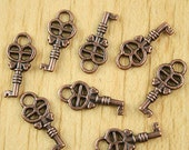 Copper-toned Heart Key Charms - Qty 8
