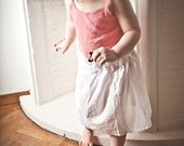 BACK from the Dead Collection - Little lace waistband white soft cotton voile skirt for girl