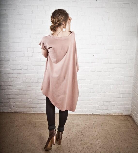 Pink nude color asymmetric loose volume jersey dress size medium large pleated bohemian avant garde