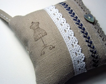 Pincushion,  Natural Linen Fabric, Cotton Lace, Blue Trim, Mother of Pearl Button, Mannequin