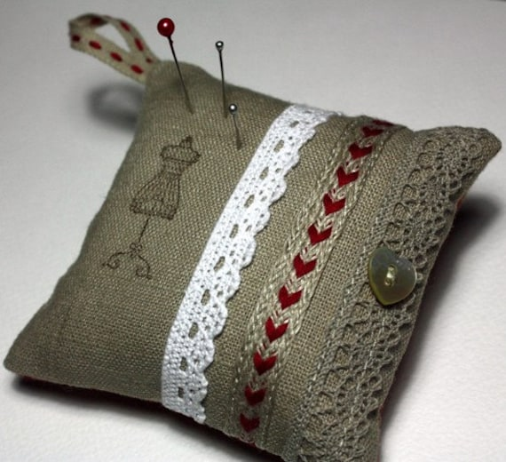 Pincushion, - Natural Linen Fabric, Cotton Lace, Red Trim, Mother of Pearl Button - RUSTIC RED