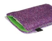 slim iPhone case in bright purple Harris Tweed with bright green felt lining