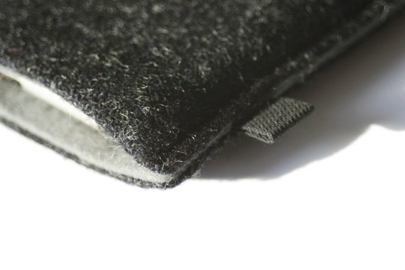 slim iPhone case in charcoal grey Tweed with steel grey felt lining