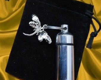 Silver Cremation Urn and Vial with Dragonfly Keepsake with Velvet Pouch and Fill Kit