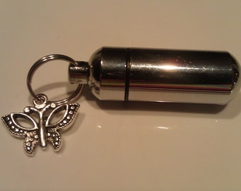 Silver Cremation Urn / Vial Keepsake with Silver BUTTERFLY Charm - with Velvet Pouch and Fill Kit