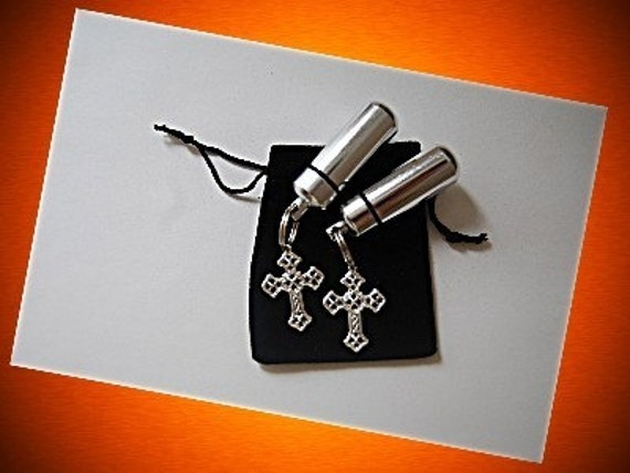 Set of TWO Classic Silver CREMATION URN Keychains with Silver Lace Crosses - Includes Velvet Pouches and Fill Kit
