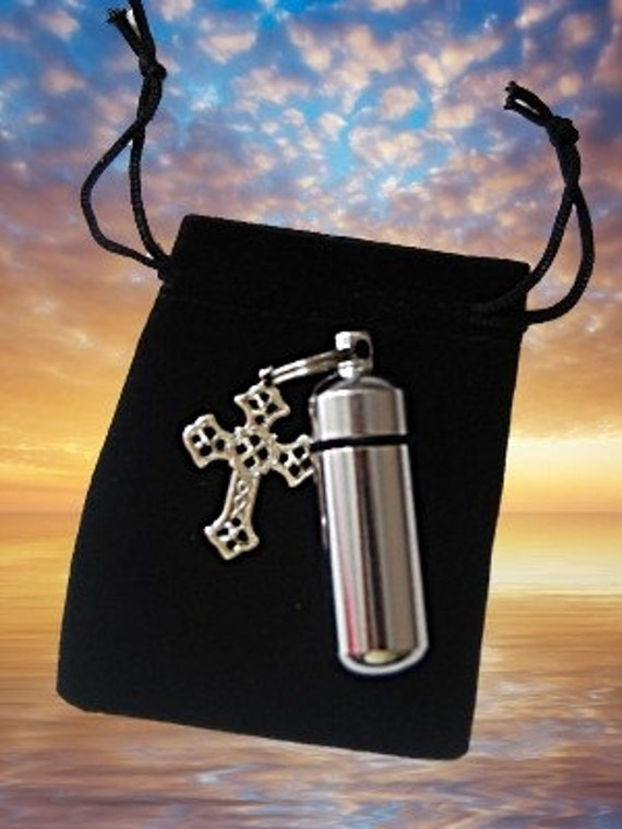Silver CROSS  Personal Cremation Urn and Vial - Includes Velvet Pouch and Fill Kit