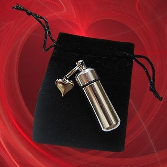 Silver Cremation Urn and Vial with  Puffed Heart - Keychain
