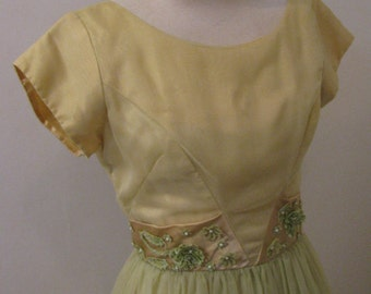 Vintage 50s 1950s LEMON LIME Yellow - Party Dress Full Skirt - Juniors or Xsmall Prom Special Event Junior Bridesmaid Wedding