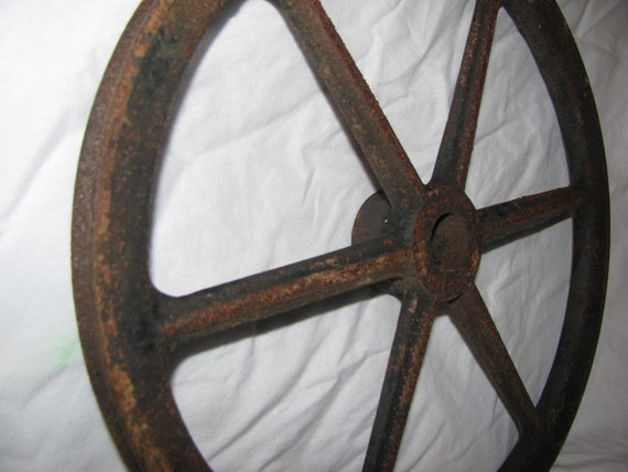 Antique Old Rusty Industrial Pulley Wheel