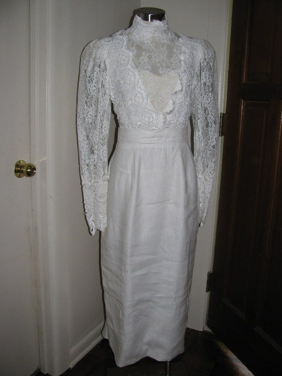 Vintage 80s Wedding Dress - Jessica McClintock - Size 10 - Victorian Steampunk - White Lace and Linen
