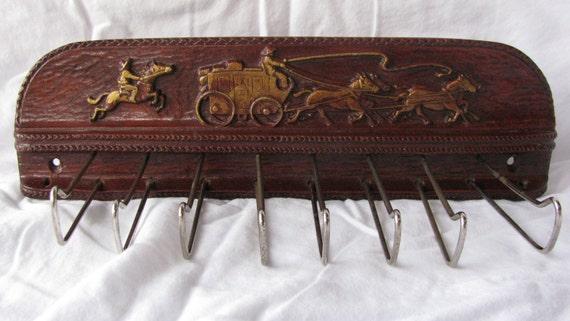 Vintage Belt or Tie Holder Hanger Organizer - Fathers Day - Wall Mountable - Stagecoach Horse Motif - Cowboy Room Decor - Organization