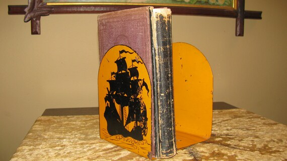 Vintage Nautical Ship Silhouette Bookends Book Ends -  Metal - Orange and Black - 1950s - Rusty Chippy