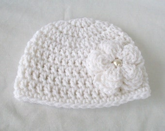 Newborn Girl Hat, Pearly White Flower Beanie, Baby Girl Hat, Toddler Crochet Hat