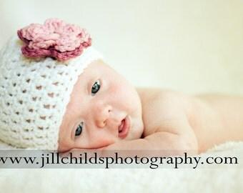Baby Girl Hat, Flower Beanie, Toddler Hat with Flower, Crochet Beanie, Cream Color Hat, Infant Girl