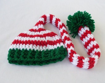 Newborn Christmas Elf Hat, Toddler Elf Hat, Baby Pixie Stocking Cap, Sizes 0 to 12 months, 1 to 3 years