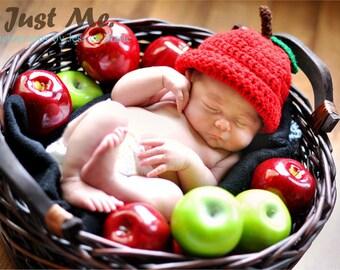 Baby Apple Hat, Newborn Apple Beanie, Toddler Red Hat, Baby Boy, Baby Girl, Autumn Hat, Crochet Beanie, Photo Prop