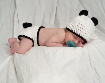 Panda Hat and Diaper Cover, Bear Outfit, Newborn, 3 to 6 months, 6 to 12 months, Photo Prop