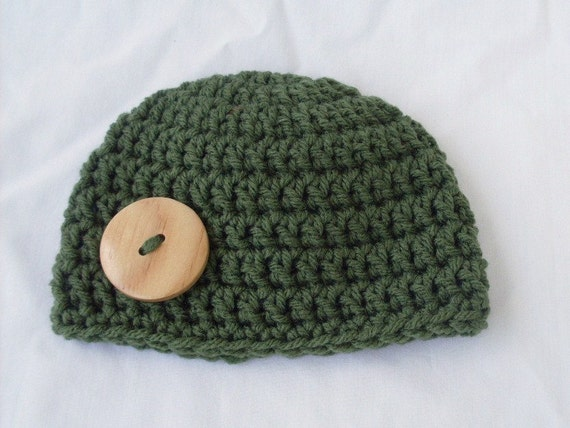 On Sale Baby Big Button Hat Green Sizes 0 to 12 Months