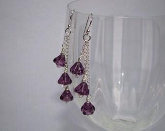 SALE 40% OFF - Sterling Silver Amethyst Earrings - Purple Flower Earrings