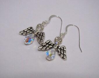 SALE 40% OFF - Angel Earrings - Swarovski Crystal - Sterling Silver Christmas Earrings
