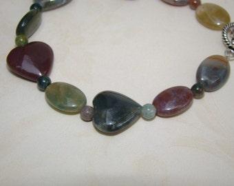 SALE 40% OFF - Fall Bracelet - Fancy Jasper Bracelet with Agate Hearts - Sterling Silver Toggle