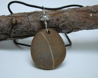 Beach Stone Pendant Necklace, Chocolate Brown Leather Cord, Sterling Silver