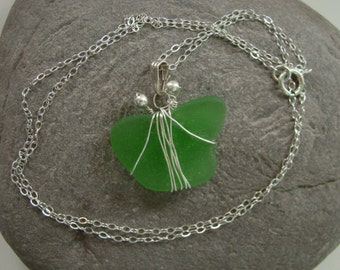Sea Glass Butterfly Necklace Pendant - Emerald Green Seaglass - Sterling Silver Wire Wrapped