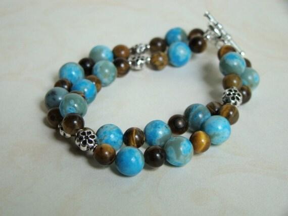 Turquoise Bracelet - Jasper and Tiger Eye Beaded Bracelet - Sterling Silver