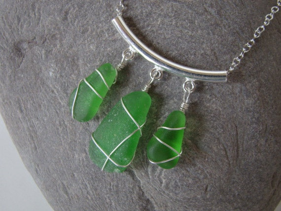 Emerald Green Sea Glass Pendant Necklace - Sterling Silver