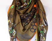 Hand painted and individually designed digital printed 100% silk scarf