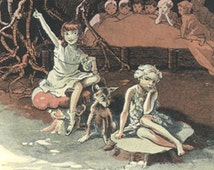 Peter Pan Vintage Print 1931-  J. M. Barrie, Gwynedd Hudson. The Home under the ground. Wendy Favourite time for sewing.