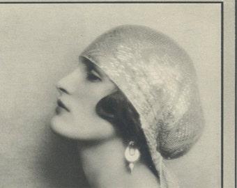 Nancy Kenyon, Art Deco, Reproduction Vintage, Monochrome Portrait in Photogravure by Hugh Cecil, 1926, Book of Beauty