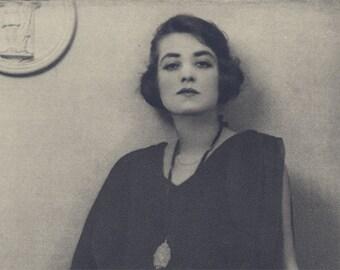Sale 20% off Miss Elsie Scott, Art Deco, New Vintage Monochrome Portrait in Photogravure by Hugh Cecil, 1926, Book of Beauty